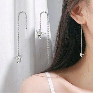 NEW Sterling Silver Diamond Paper Crane Earrings